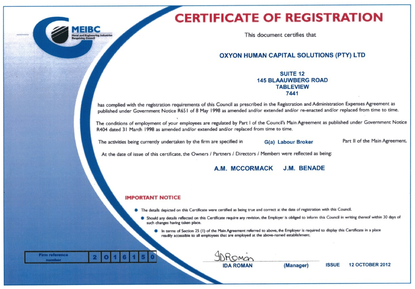 Our MEIBC Certificate